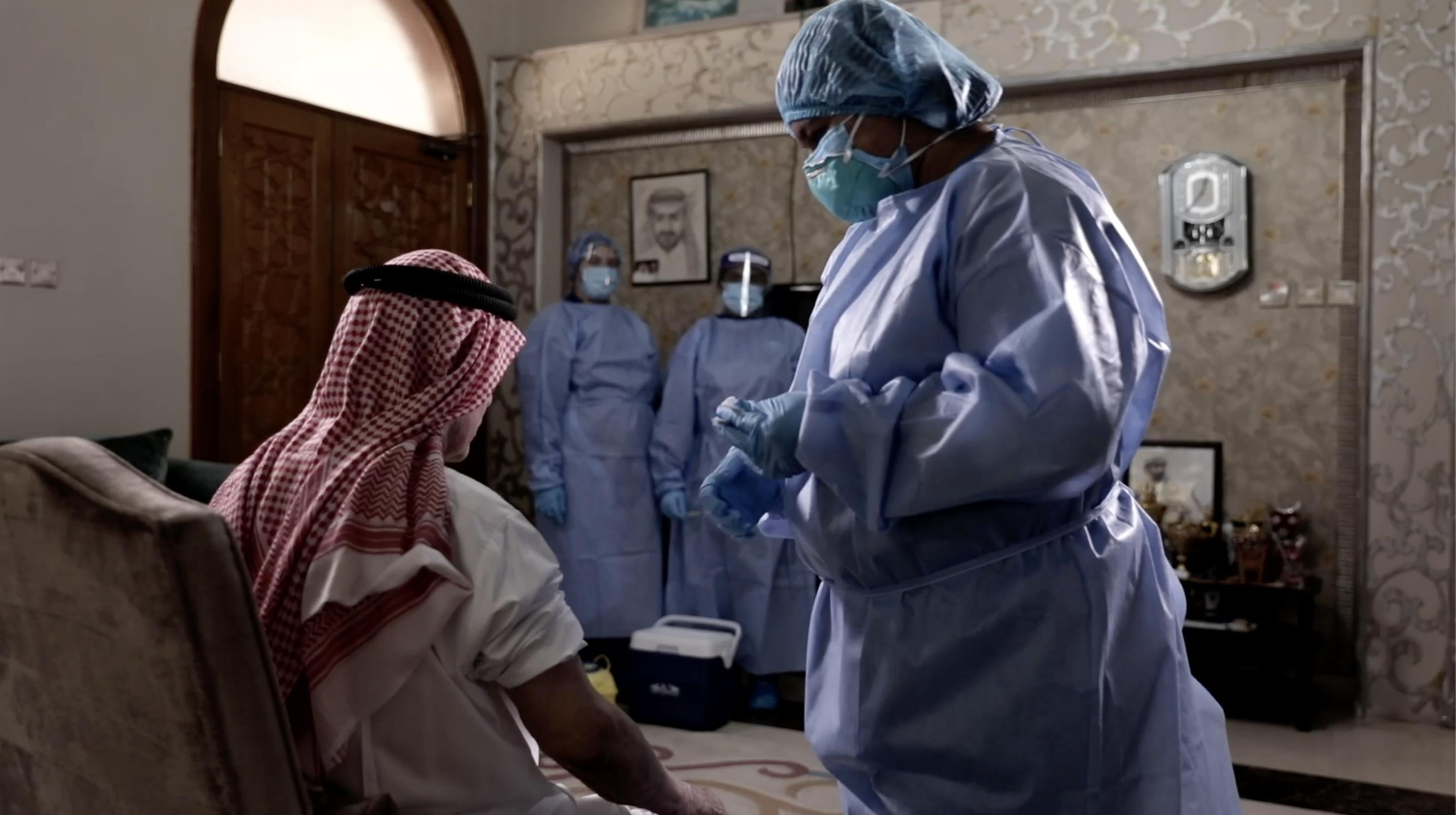 Seniors in Sharjah get flu shots at home
