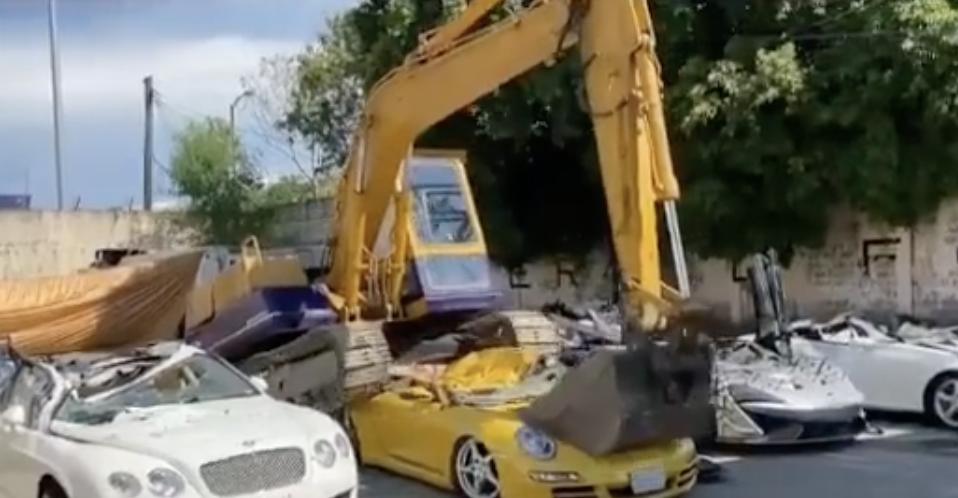 Bentley, Porsche worth Dh4.4m crushed by bulldozer